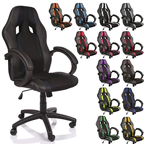 TRESKO Silla de Oficina Racing Silla de Escritorio Ordenador giratoria Disponible en 14 Colores, Bicolor, Silla Gaming ergonómica, pistón de Gas Certificado por SGS (Negro/Negro)