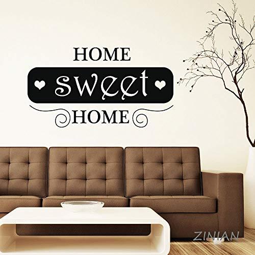 Quote Wandaufkleber Aufkleber Wohnzimmer Eingang Dekorieren Ornament Romantice Schlafzimmer Wandtattoos Home Sweet Home weiß 76X42 cm ()