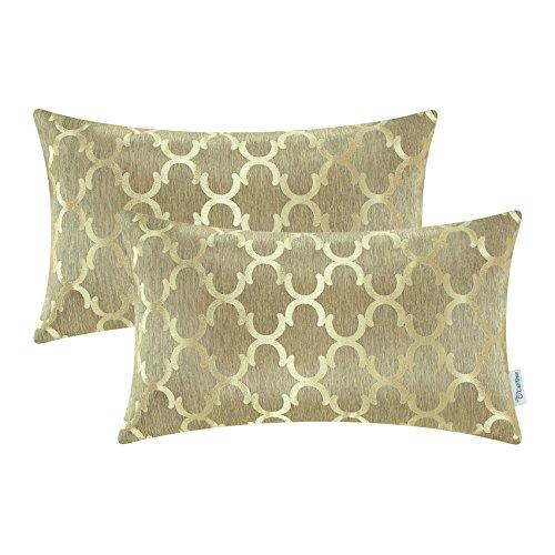 2 Stück Calitime Überwurf Kissenbezüge Beide Seiten, Geometrische 30cm X 50cm Gold