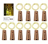 10 Stück 20 LED Flaschenlicht Lichterketten warm weiß 78in(2M) LED Flaschen Licht Kupferdraht Cork Form der LED Nacht Licht Weinflasche Hochzeit Party romantische Deko für Flasche DIY (Warmweiß)