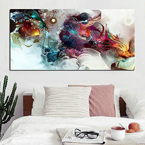 RTCKF Grande Formato 3D acquarello Floreale Tela Arte Astratta HD Poster Pittura murale Decorazione Soggiorno (Senza Cornice) A4 60x120 cm