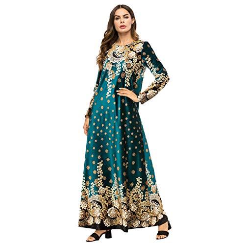 TEBAISE Ethnische Stickerei islamisch Abaya Kaftan Cocktail Art Druck Lange Hülsen Partei Maxi-Kleid Robe der Moslemischen Weisefrauen Muslimische Damen Langarm National Printed Dress für Ramadan