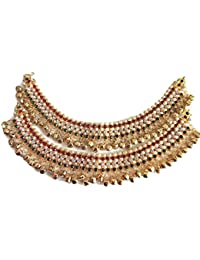 INDIAN TRADITIONAL Gold Brass Chain Anklets for Women (Pack of 2)