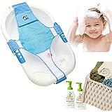 Newborn Baby Bath Seat Support Net Bathtub Sling Shower Mesh Bathing Cradle Rings For Tub (Blue)
