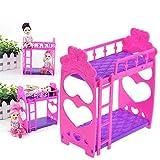 Naisicatar 1pc Puppenhaus Möbel Doppelbett Rahmen Kunststoff Etagenbett Schlafzimmermöbel Bett Set für Kelly Barbie-Puppe Barbie-Puppen Puppen Rosa und lila 3,5 Zoll Interessantes Spielzeug