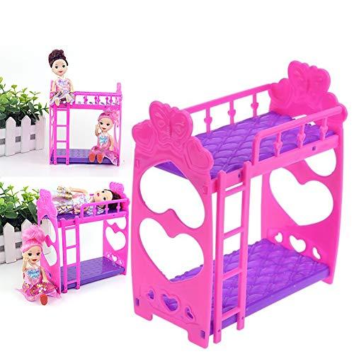 etagenbett haus Naisicatar 1pc Puppenhaus Möbel Doppelbett Rahmen Kunststoff Etagenbett Schlafzimmermöbel Bett Set für Kelly Barbie-Puppe Barbie-Puppen Puppen Rosa und lila 3,5 Zoll Interessantes Spielzeug