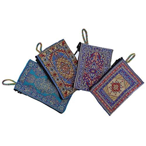 Geldbeutel Stoffbeutel Geldbörse Damen mit Reißverschluss Handarbeit Bestickt Multifunktional Tasche Mini 11 x 7 cm Color Blau