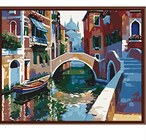 QAZZSF New Frameless Wall Art Bilder Malen Nach Zahlen Von Howard Handgemaltes Öl Auf Leinwand Home Decor Landschaft Digitales Malen 40X50CM -