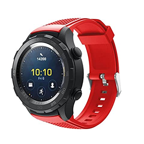 Gaddrt Remplacement concis Vogue dragonne bracelet silicagel Soft Band pour Huawei Watch 2 (rouge)