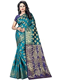 SATYAM WEAVES WOMEN'S ETHNIC WEAR BANARSI SILK SAREE WITH BLOUSE PIECE. (RAMA-BLUE)