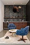 Mosaik Fliesen 30 x 30 cm Glasfliese Klavier schwarz beige grau Mix funkeln Schimmer Küche Badezimmer Wand 8mm 059 (11 Blatter)