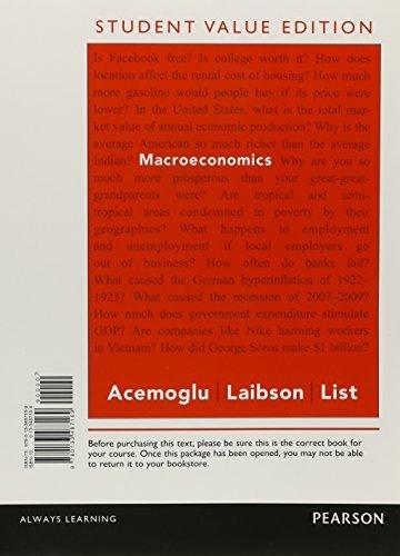 Macroeconomics, Student Value Edition by Daron Acemoglu (2014-11-27)