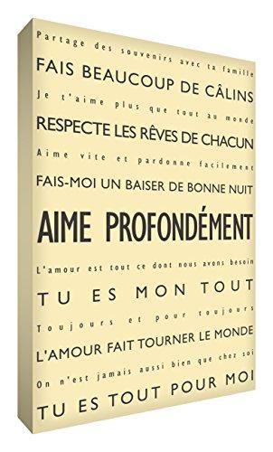 Feel Good Art Aime zutiefst Leinwand auf Rahmen Wandtattoo modernen Stil-/Typografischer, Crème, 91 x 60 cm