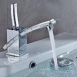 Auralum® Grifo de Lavabo Diseño especial Cascada Grifo de Baño Cocina Cromo-plateada Latón y Vidrio