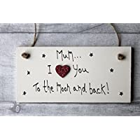 MadeAt94 Personalised Mothers Day Plaque for Mum Moon and Back Gift Mummy