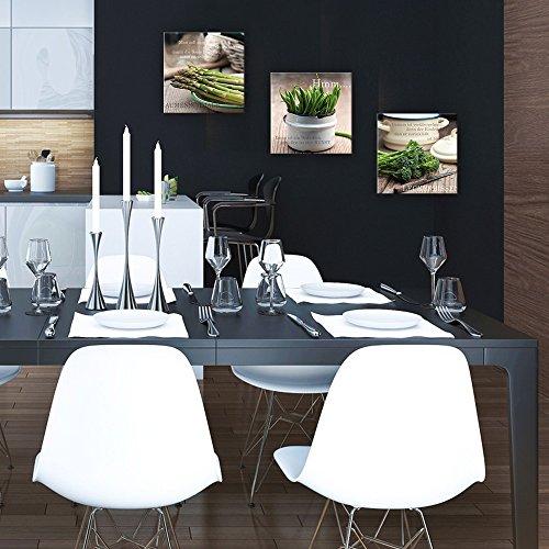 artissimo, Glasbild, 30x30cm, AG2048A, Gaumenschmaus, Küchenbild mit Spruch, Spruchbild grün, Bild aus Glas, Moderne Wanddekoration aus Glas, Wandbild Wohnzimmer modern