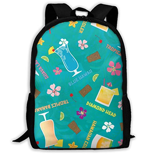 Hilton Hawaiian Village (Proud Clothing Hilton Hawaiian Village Tropical Mixed Drinks Toss Adult Travel Backpack School Casual Daypack Oxford Outdoor Laptop Bag College Computer Shoulder Bags 16.9x11x6.3 inch)