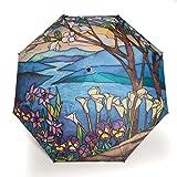 Taschenschirm Landschaft Motiv Blau Glasmalerei/Damenschirm/Reenschirm für Frauen Rosemarie Schulz Heidelberg