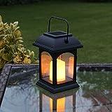 Laterne Solar und LED Kerze Flackereffekt 15cm (inkl. Batterie wiederaufladbar)