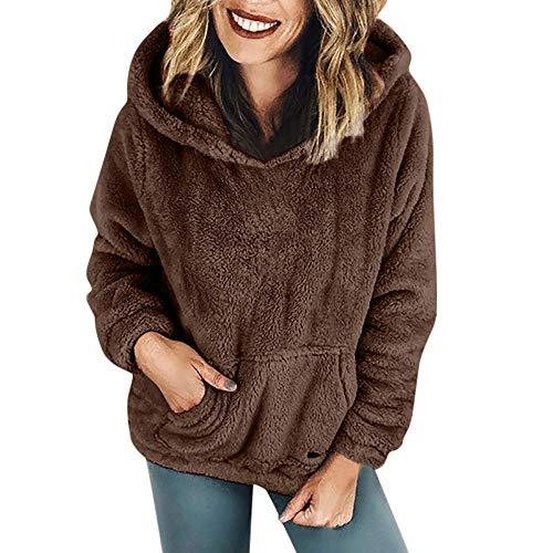 iHENGH Damen Winter Jacke Dicker Warm bequem Parka Mantel Kapuzenpulli Wolltaschen Baumwollmantel Outwear(EU-50/CN-2XL,Kaffee)