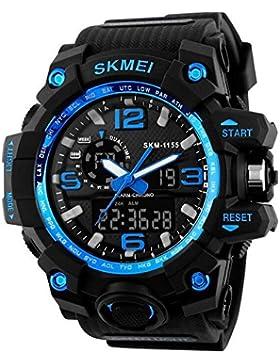 nanhong Herren Sport wasserdicht Uhren LED Digital und Analog Armbanduhren Blau