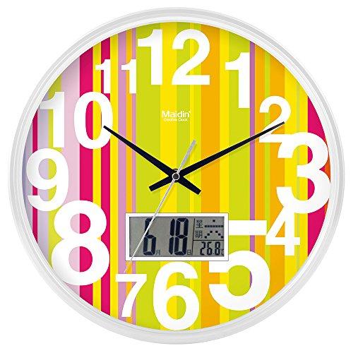 DIDADI Wall Clock Kreisförmige Uhrenbatterie mute Wanduhr hinter dem Motor Schlafzimmer beigefügte Tabelle Herr Ding clock Kalender Quarzuhr Wohnzimmer, 14-Zoll-LCD, edition Weiß