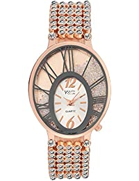 Youth Club Bubbly Chain With Moving Stones Analog White Dial Girl's Watch-BBL-OVLWHT