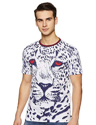 United Colors of Benetton Men's Printed Regular fit T-Shirt (19P3IMPJ3093I_901_M_White_M)