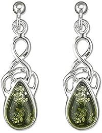 Amber Sterling Silver Earrings - Celtic Green Amber Fancy Dangly Drop - For Amber Jewellery Lovers