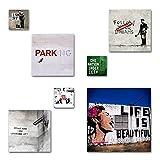 Banksy Bilder Set, 7-teiliges Bilder-Set, moderne seidenmatte Optik auf Forex, frei positionierbare schwebende Anbringung, UV-stabil, wasserfest, Kunstdruck für Büro, Wohnzimmer, XXL Deko Bilder