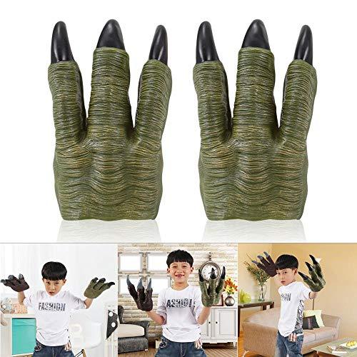 AOLVO 2 Stück Velociraptor Klauen Handpuppen Dinosaurier Spielzeug Handschuhe Kostüme Requisiten Cosplay Party Gastgeschenke für Erwachsene Kinder grün