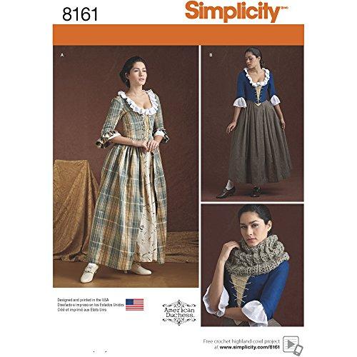 Simplicity Muster 8161Misses 'aus Dem 18. Jahrhundert Kostüme Schnittmuster, weiß, Größe R5