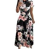 Damen Kleider Kleidung Retro Cocktailkleid Rockabilly Sommerkleid Elegant Knielang Festlich Strandkleid Abendkleid Partykleid Mode O-Neck Blumen Drucken Kurzarm Bandage Langes Kleid
