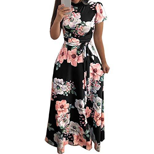 Damen Elegant Kleider Sommerkleid Retro Rockabilly Frauen Kleid Partykleid Cocktailkleid Ballkleid Sommer Abendkleid Knielang Punkt Drucken Chiffon Rundhals Ärmelloses Minikleid Beiläufiges Dress