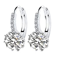 MJARTORIA Womens Hoop Hook Earrings White Round Rhinestone Stud Earrings