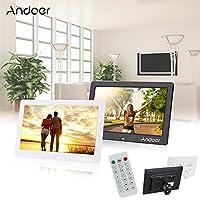 ساعة منبه لألبوم صور رقمية بشاشة LCD مقاس 10.1 بوصة من Andoer مشغل أفلام MP3 MP4 1024 * 600 HD مع جهاز تحكم عن بعد