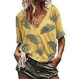 Felicove Frauen-T-Shirt Sommer beiläufige lose Bluse Mode V-Ausschnitt Kurzarm Print Bluse Tops T-Shirt Strand Beiläufig Oberteile