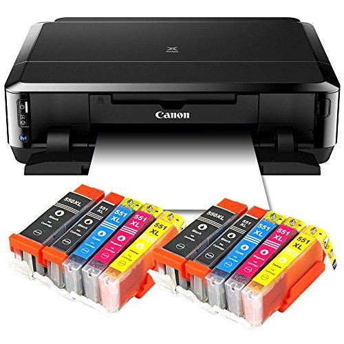 Canon Pixma iP7250 Tintenstrahldrucker mit WLAN, Fotodrucker und CD-Bedruck, Auto Duplex Druck (9600x2400 dpi, USB) + USB Kabel + 10er Set IC-Office XL Tintenpatronen (Originalpatronen nicht im Lieferumfang)