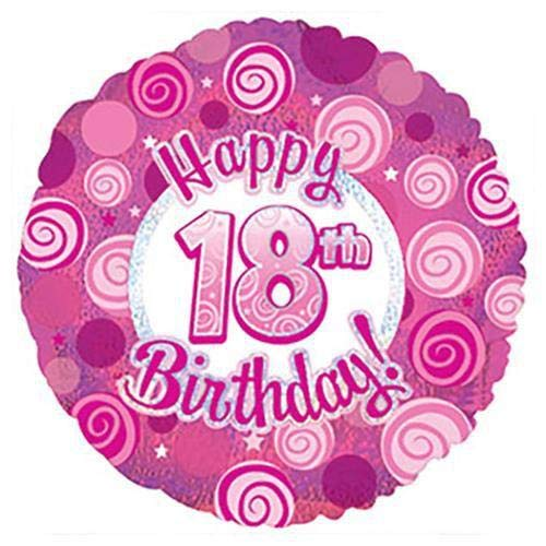 CTI 114724 Folienballon Happy 18 Birthday Pink Dazzleoons 43,2 cm