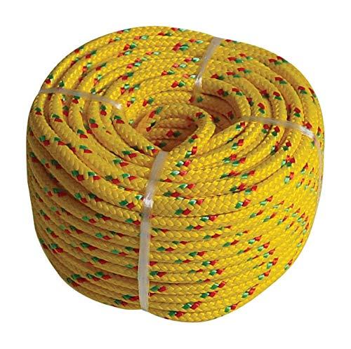 ag-tools Seil Leine PP 16-Fach Geflochten ø 4mm 20m gelb Abspannseil 60220 - Wohnwagen Springs