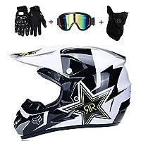Motocross Motorcycle Helmets & Windscreen & Gloves & Goggles D.O.T Standard Kids Quad Bike ATV Go-Kart Helmet Rock Star (S, M, L, XL), S:55~56CM