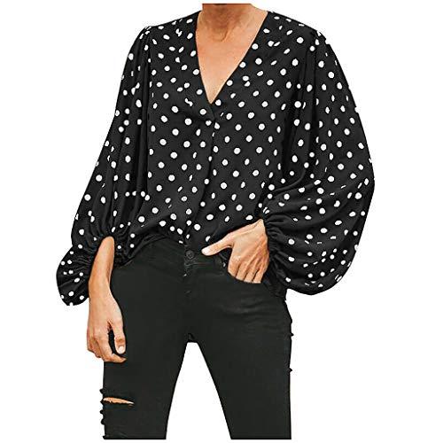 TianWlio Mode Frauen V-Ausschnitt Puffärmel Polka Dot Geraffte Freizeitbluse Shirt Tops Schwarz XL