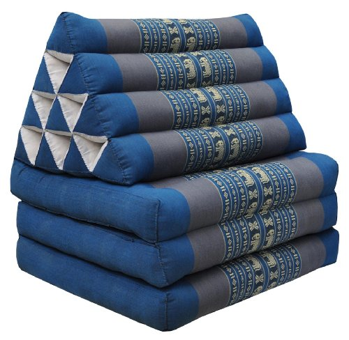 Colchón Thai 3 pliegues, con cojín triángulo, ocio, colchón, Kapok, playa, piscina,...