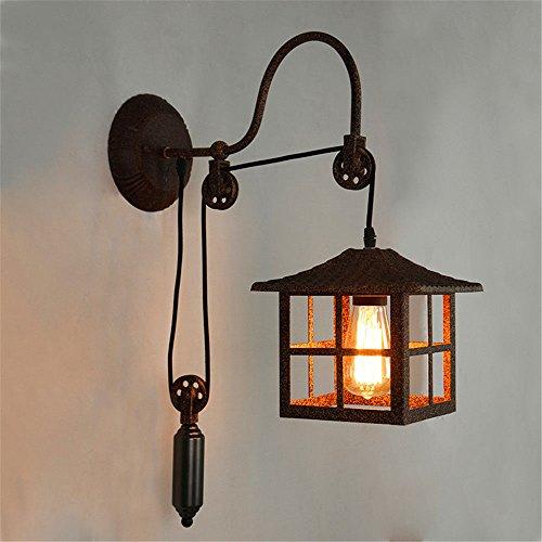 Lightoray vintage lampada da parete loft di antiquariato in ferro battuto, ruggine e27 retro applique da parete per bar, camera da letto, cucina, ristorante, caffè, corridoio