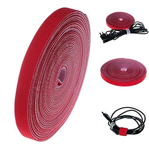 HIMRY Range Câble, 10M x 15mm Microfibre Bande Auto-Adhésif pour Câbles, Réversible, Réutilisable. Gestionnaire de Câble, Manager Câbles. Peut être coupé à la bonne longueur désirée, Auto-attaché Bande crochet & boucle pour Câble Rangement, Rouge, KXB5013 red