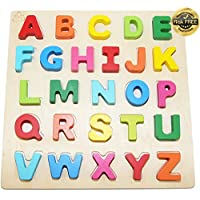 Wooden Alphabet Toddler Puzzles Toys For 2 - 3 Year Olds Kids With Big Bright Color Letters; ABC Girl, Boy Learning Resources; Educational Name, Shape Puzzle; Preschool Learning Toys For Toddlers