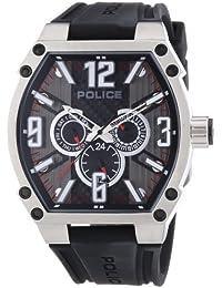 POLICE P13845JS-02 - Reloj analógico de cuarzo para hombre con correa de caucho, color negro