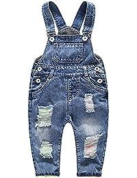 FEOYA Niños Bebé Petos Vaqueros Overalls Denim Pantalones Tirantes Largos Jeans Strench Casual 0-2 Años