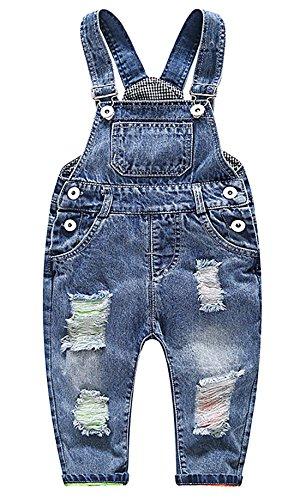 Feoya Junge Mädchen Baby Overall Kinderlatzhose Denim Loch Jeans Hose mit Hosenträger Lange Einteiler Jumpsuit