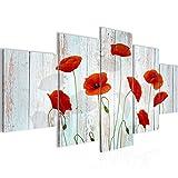Bilder Blumen Mohnblumen Wandbild 200 x 100 cm Vlies - Leinwand Bild XXL Format Wandbilder Wohnzimmer Wohnung Deko Kunstdrucke Rot 5 Teilig - MADE IN GERMANY - Fertig zum Aufhängen 012551c